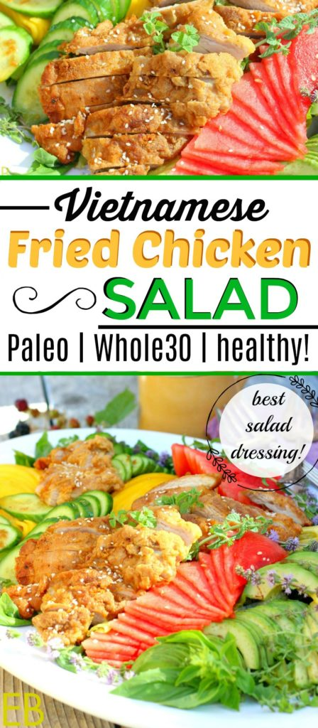 Vietnamese Fried Chicken Salad (Paleo, Whole30) #paleofriedchicken #whole30salad #whole30friedchicken #paleosalad #paleovietnamese