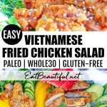two images of fried chicken salad with banner in the middle