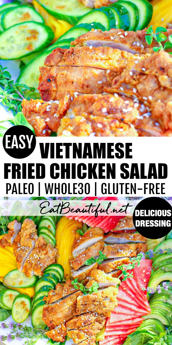 two images of vietnamese fried chicken salad with a banner in the middle