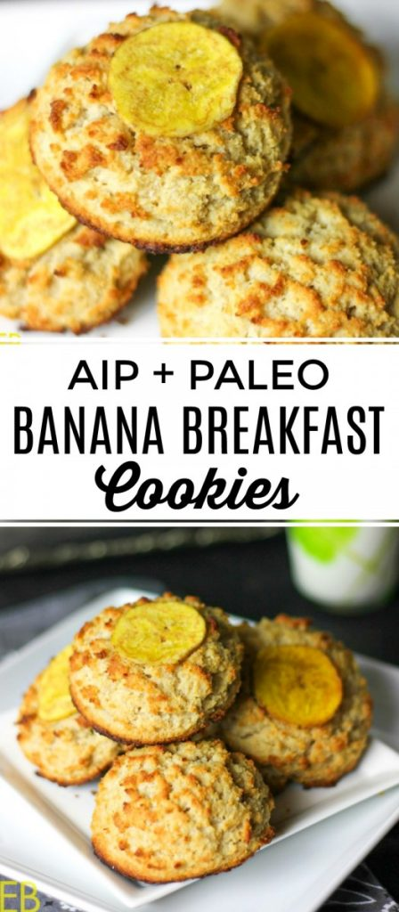 piles of aip and paleo banana breakfast cookies