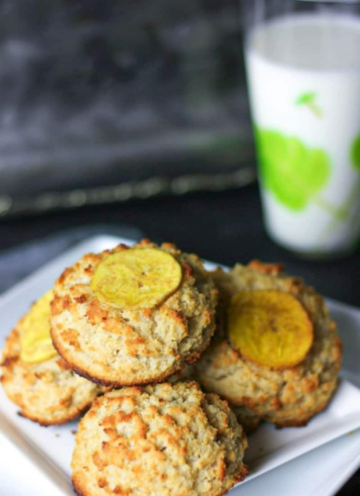 several aip banana breakfast cookies on a plate
