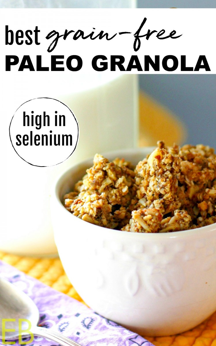 grain-free paleo granola in white bowl with jar of milk in background