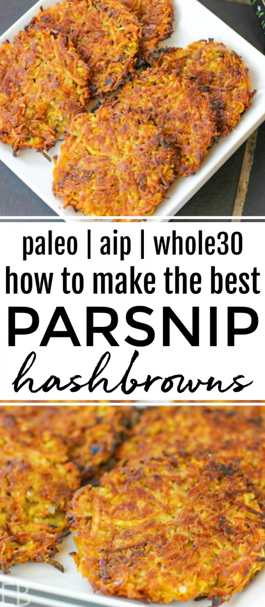 plates of parsnip hashbrowns piled high