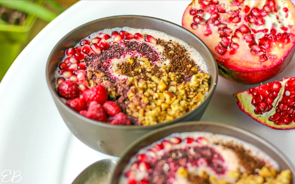 up close view of pomegranate smoothie bowl