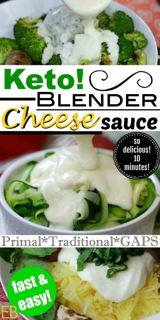 Keto Blender Cheese Sauce- 5 ingredients; quick & easy! {GAPS-friendly/Primal/Traditional} #ketocheesesauce #gapsdietcheesesauce #primalcheesesauce #paleocheesesauce #ketofastmeals #paleoeasydinner #ketoeasydinner #gapseasydinner