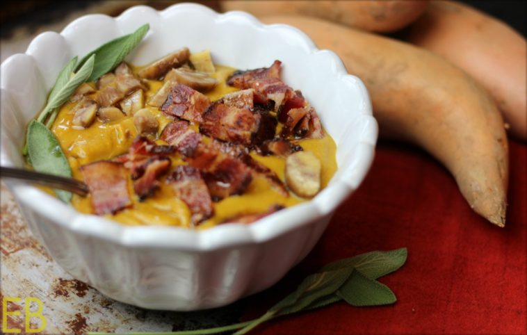 Sweet Potato-Chestnut Soup with Sage and Bacon