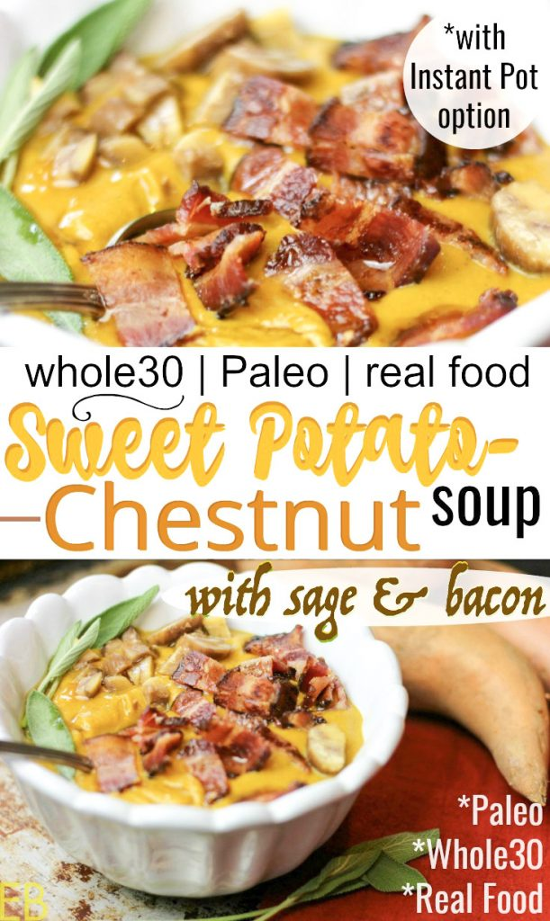close-up view of sweet potato chestnut soup with sage and bacon that's whole30 and paleo