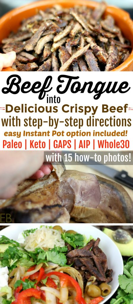 Beef Tongue into Delicious CRISPY BEEF - with an Instant Pot option! This recipe makes beef tongue easy and delicious, in just 15 minutes!! #paleo #keto #aip #gapsdiet #beeftongue #organmeat #tongue #instantpot
