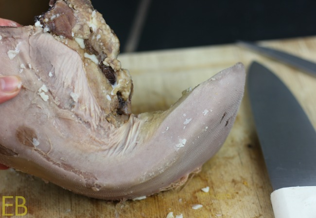 Whole beef tongue- before frying.