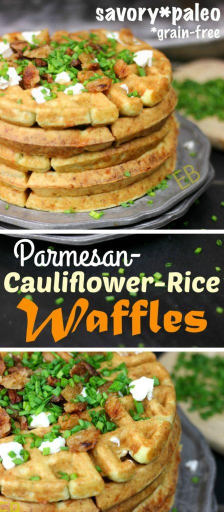 Savory Parmesan-Cauliflower Waffles {Paleo} #paleowaffles #easypaleo #primal #bestwaffles #cheesewaffles #bestpaleo #cauliflowerrice