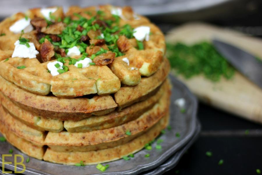 Savory Parmesan-Caulifower Waffles {Paleo}