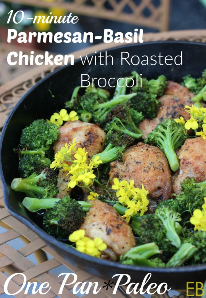 10-minute Parmesan-Basil Chicken with Roasted Broccoli~ a 1-pan dinner! {Paleo and GAPS Diet}