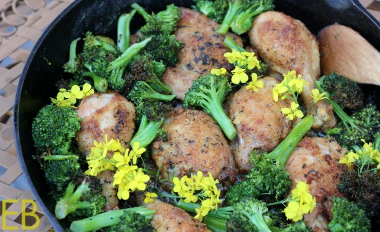 10-minute Parmesan-Basil Chicken with Roasted Broccoli~ a 1-pan dinner!