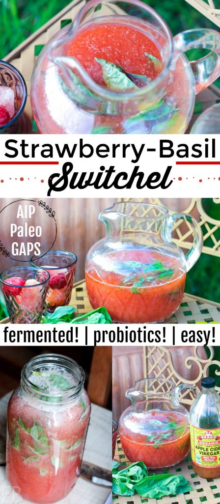 Strawberry-Basil Switchel {with probiotics and electrolytes!} Rehydrate, detoxify, entertain, satiate, beautify: this switchel does it all!! It's so pretty, and it's so healthy. You'll love how fast it is to make and how eagerly everyone lines up to try it! #switchel #strawberries #strawberrybasil #basil #electrolytes #probiotics