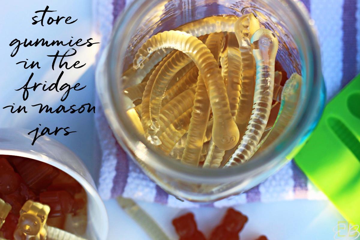 overhead view of herbal tea gummies in mason jar