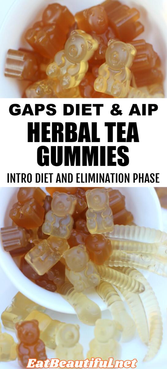 two images of gaps aip herbal tea gummies