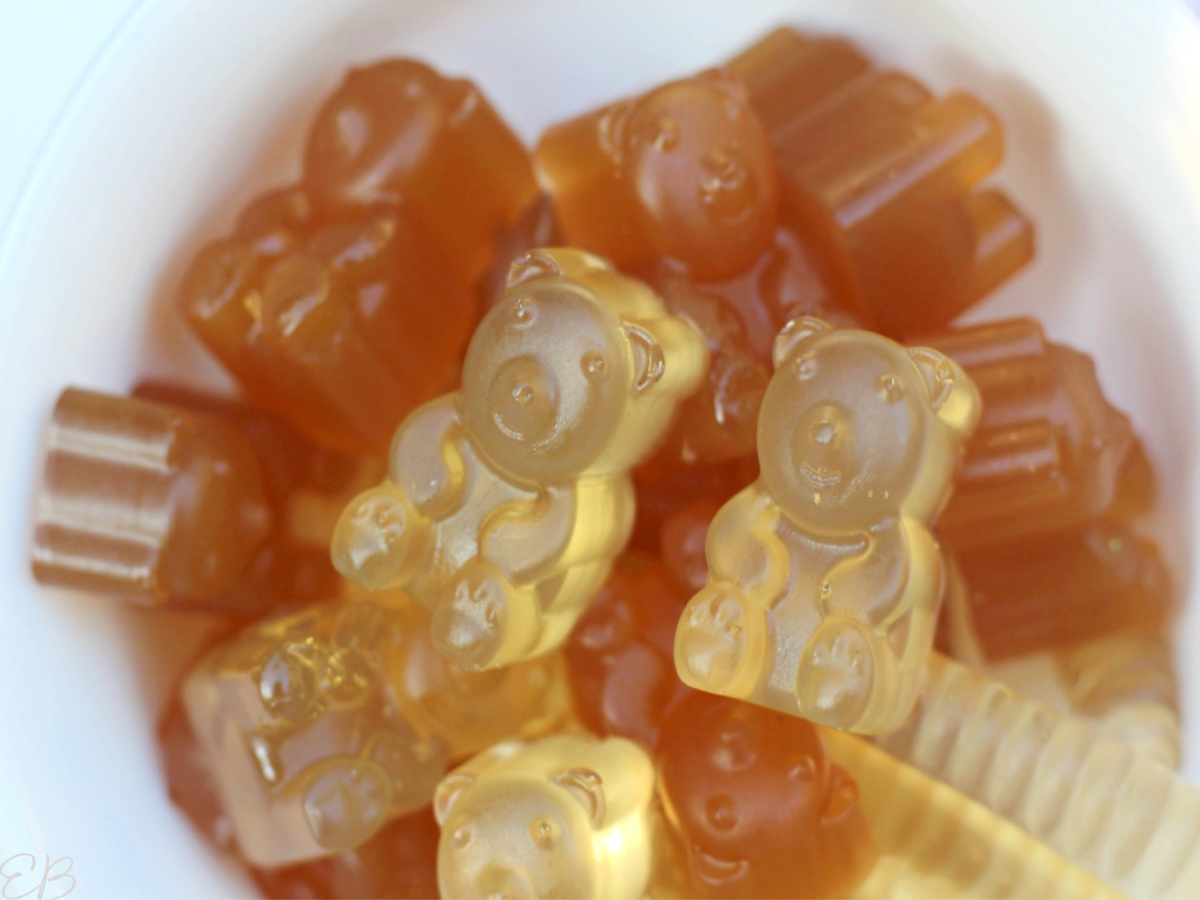 close up view of herbal tea gummy bears