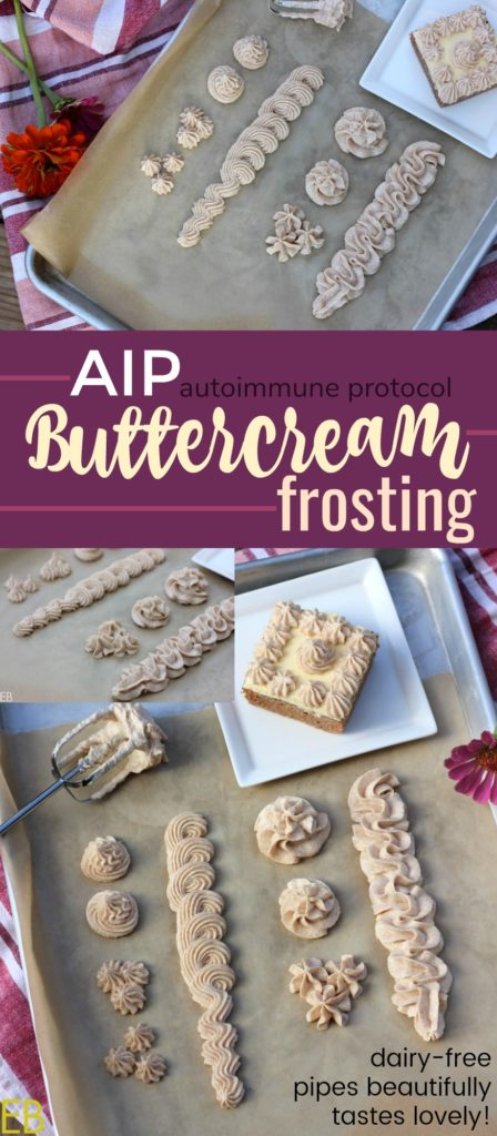 "AIP ""Buttercream"" Frosting!!!! Amazingly delicious, dairy-free, coconut-free, whips up and pipes beautifully, compliant with autoimmune protocol diet. SO happy to have this recipe!!! :)"