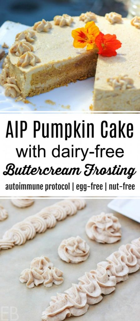 aip pumpkin cake and a sheet pan with dairy-free buttercream piping