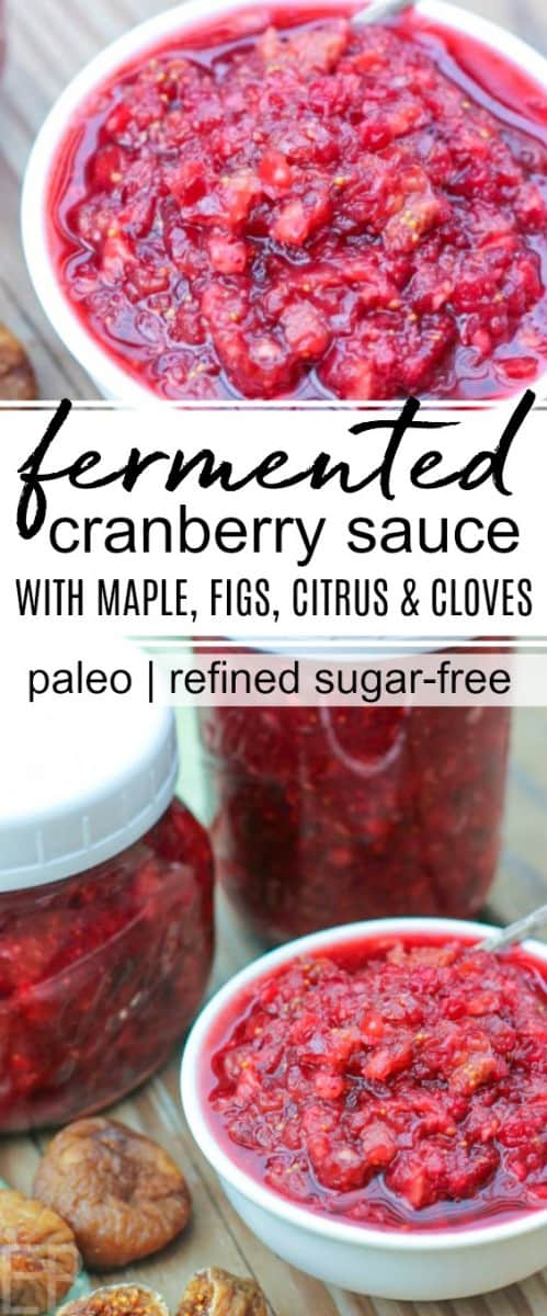 jars and dish of fermented cranberry sauce