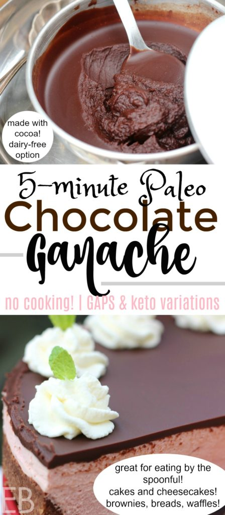 Paleo Chocolate Ganache- Easy & Fast, 5 minutes to make, no cooking! *Made with cocoa* {Paleo/Primal, GAPS Diet, Keto, Low-carb option}