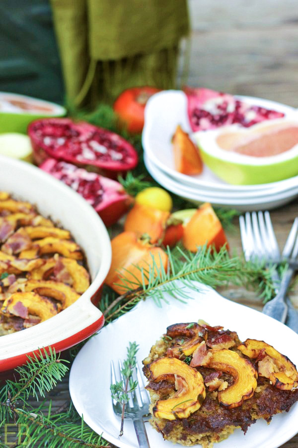 AIP and Whole30 Delicata and Pork Breakfast Sausage Casserole