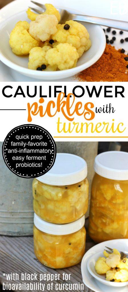 Cauliflower Pickles with Turmeric and Black Pepper {Fermented Cauliflower, Anti-Inflammatory, dairy-free (no whey used)} #fermentedcauliflower #cauliflowerpickles #turmericpickles #turmericferment #fermentedturmeric #curriedcauliflower