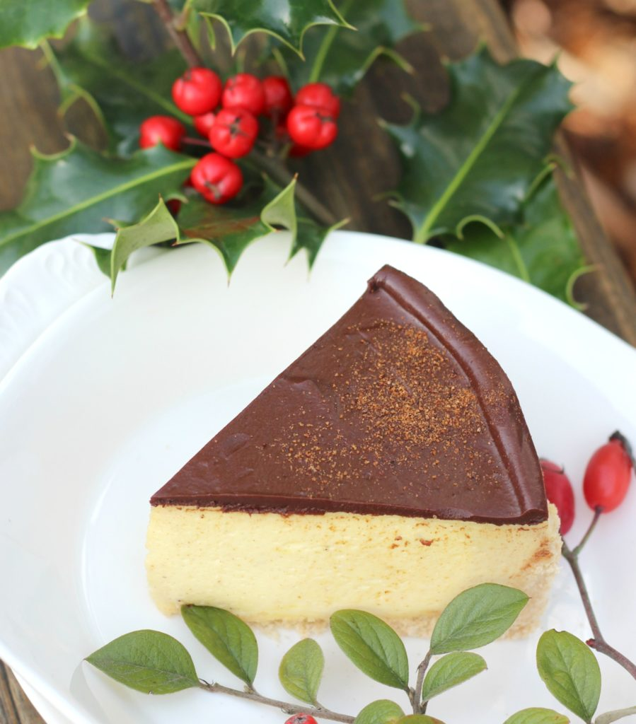 one slice of Eggnog Cheesecake with chocolate topping