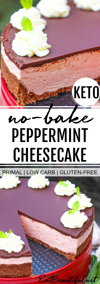 one slice out of pink no-bake peppermint cheesecake