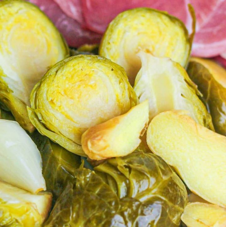 dish of fermented brussel sprouts with garlic