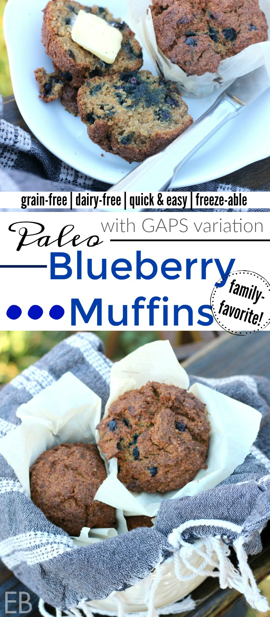 Paleo Blueberry Muffins {with GAPS diet variation and bonus instructions for How to Make Homemade Sprouted Nut Meal} #paleoblueberrymuffin #paleoblueberry #paleomuffin #sproutednutflour #howtosproutnuts #gapsblueberrymuffin #grainfreeblueberrymuffin