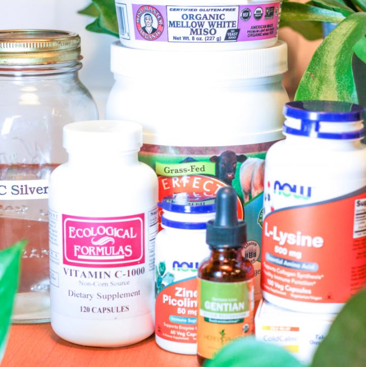 various bottles and jars that are supplements for cold and flu