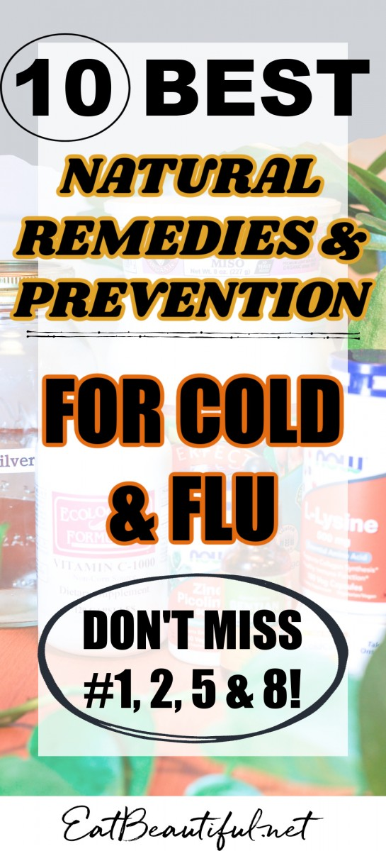words on a background of supplement images about natural remedies for cold and flu
