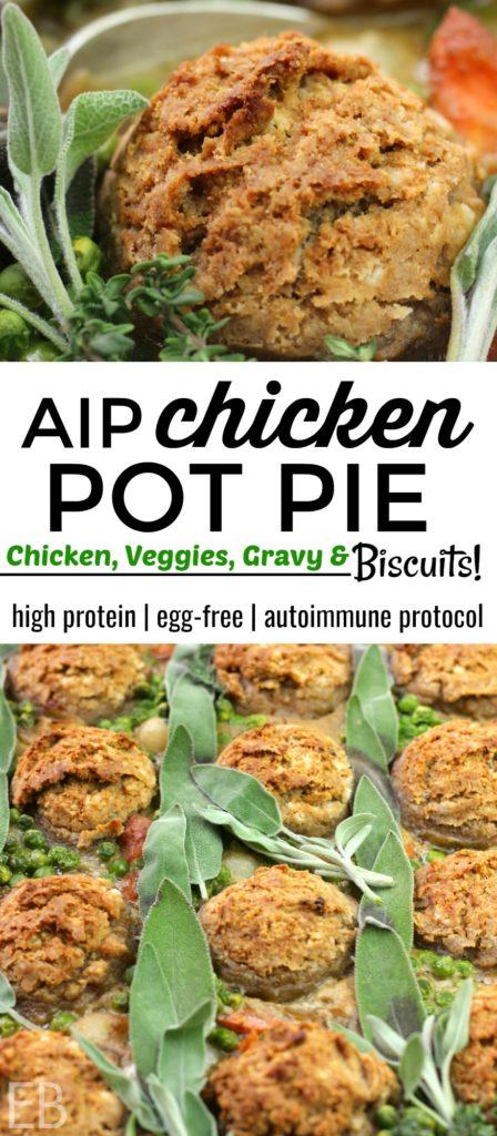 "AIP ""Chicken and Biscuits"" Chicken Pot Pie {egg-free, Paleo, autoimmune protocol} #aipcasserole #aipdinner #aipbiscuits #aipchicken #aipchickenpotpie #paleobiscuits #paleoeggfree #paleocasserole #paleochickenpotpie"