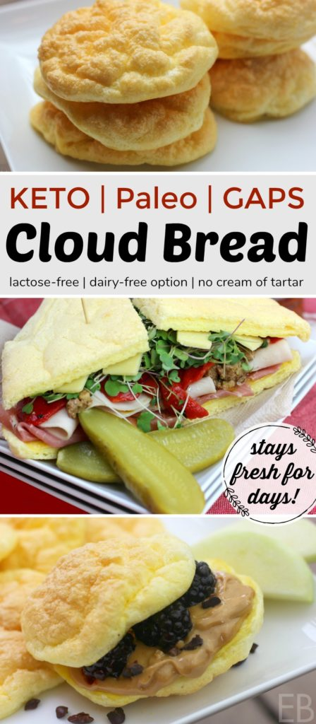 *Cloud Bread*~ KETO, Paleo, GAPS Diet {High Protein, Low-Carb, Lactose-free!; DAIRY-FREE option!} #lowcarbbread #ketobread #ketocloudbread #cloudbread #gapsdiet #gapsdietbread #paleobread #highprotein #highfat #lowcarb
