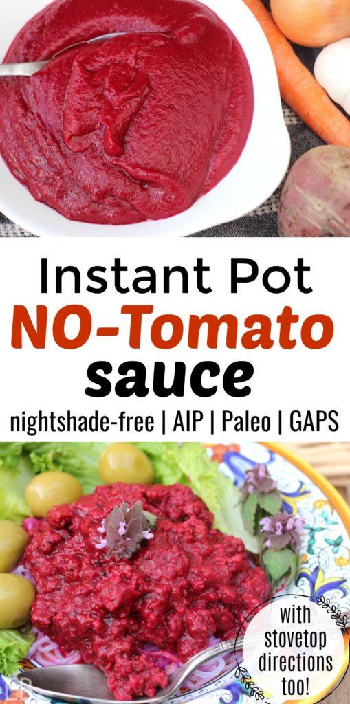 Instant Pot No-Tomato Sauce {nightshade-free, AIP, GAPS, Paleo} #notomatosauce #aiptomatosauce #nightshadefree #nonightshades #instantpottomatosauce #instantpotaipdiet #instantpotgapsdiet #instantpotnotomatosauce