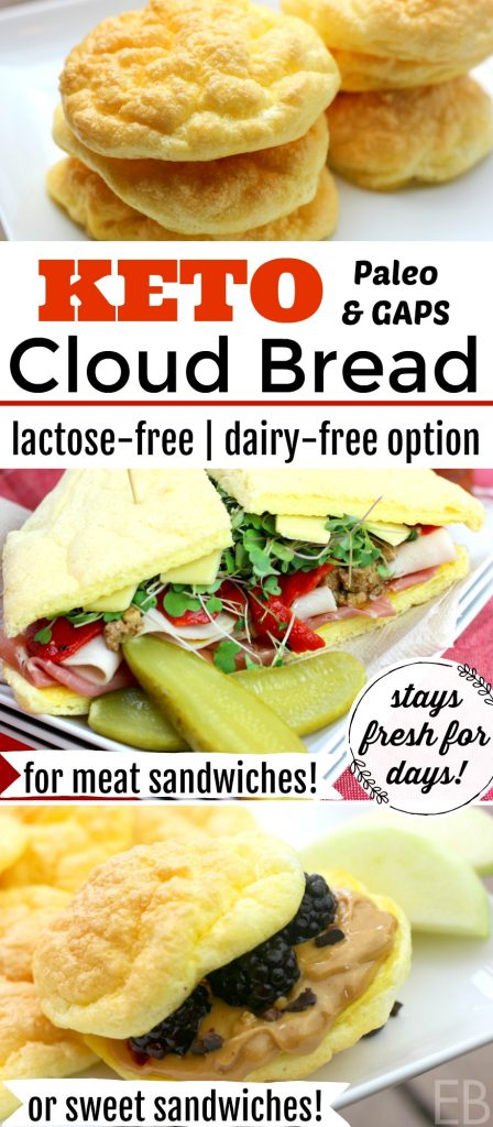 *Cloud Bread*~ KETO, Paleo, GAPS Diet {High Protein, Low-Carb, Lactose-free!; DAIRY-FREE option!} #keto #paleo #bread #cloudbread #gapsdiet #grainfree #lactosefree