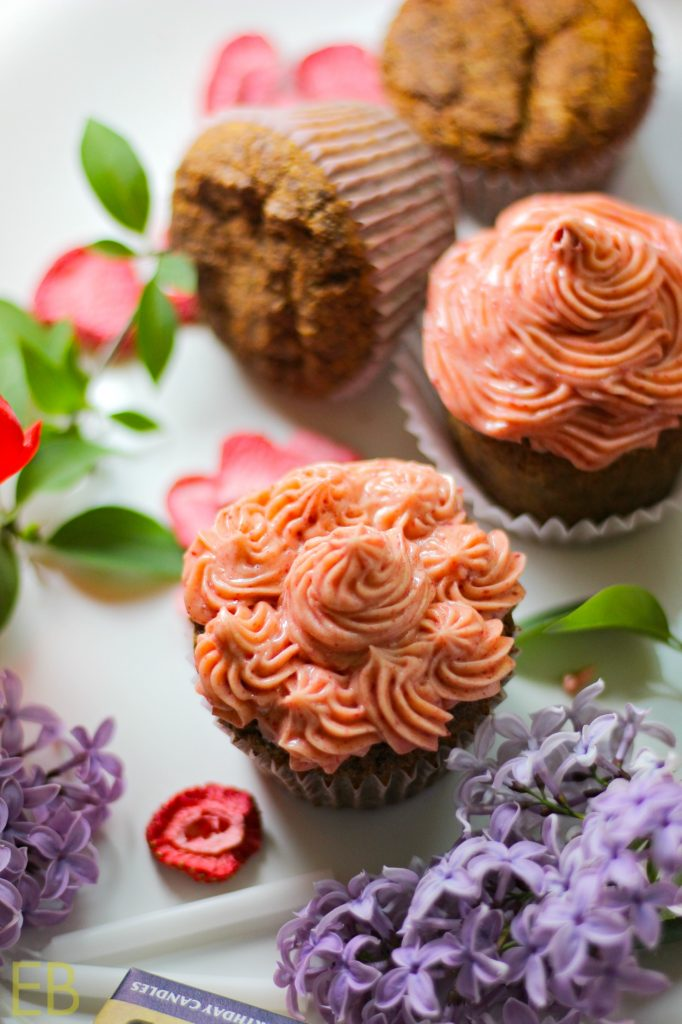 """Cinnamon Cupcakes with Strawberry """"Buttercream"""" Frosting {Paleo & AIP} are dairy-free and SO delicious! Make them for a special occasion or just for a treat! #paleocupcakes #aipcupcakes #paleocake #aipcake #paleofrosting #aipfrosting #paleodessert #paleobirthday #aipdessert #aipbirthday"""