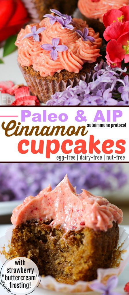 "Cinnamon Cupcakes with Strawberry ""Buttercream"" Frosting {Paleo & AIP} are dairy-free and SO delicious! Make them for a special occasion or just for a treat! #paleocupcakes #aipcupcakes #paleocake #aipcake #paleofrosting #aipfrosting #paleodessert #paleobirthday #aipdessert #aipbirthday"