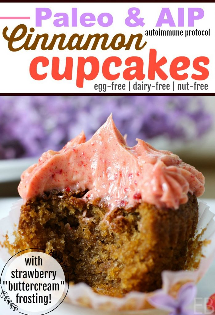 """Cinnamon Cupcakes with Strawberry """"Buttercream"""" Frosting {Paleo & AIP} are dairy-free and SO delicious! Make them for a special occasion or just for a treat! #paleocupcakes #aipcupcakes #paleocake #aipcake #paleofrosting #aipfrosting #paleodessert #paleobirthday #aip #cake #cupcakes #aipdessert #aipbirthday #paleo #birthday #dessert #cinnamon #strawberry #eggfree #nutfree #dairyfree #frosting"""