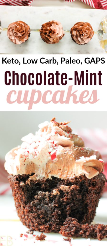 one keto paleo chocolate cupcake with swirl peppermint frosting on top