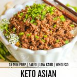 side view of keto asian beef in white bowl with chopsticks