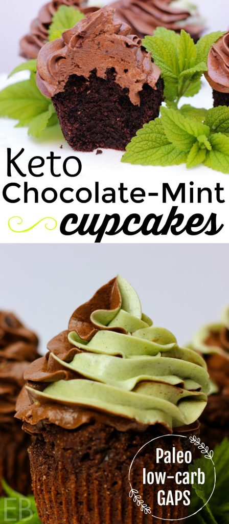 Chocolate Mint Cupcakes with Swirl Frosting {Keto, Paleo, GAPS, low-carb} #ketocupcakes #ketochocolate #lowcarbcupcakes #lowcarbchocolate #paleocupcakes #gapsdiet #chocolatemint #swirl #ketodessert