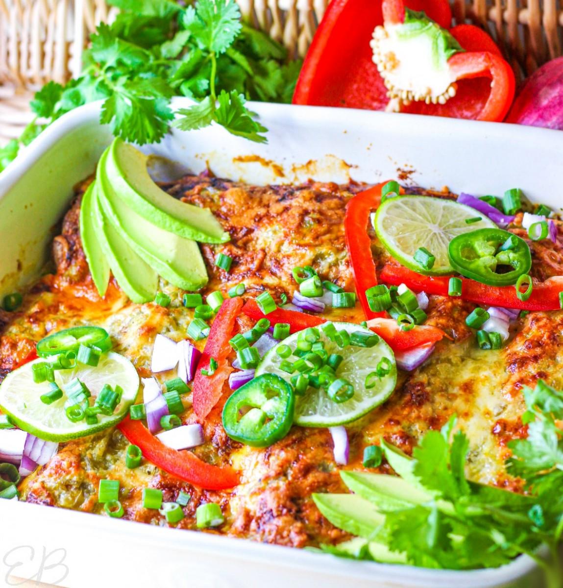 side view of keto verde chicken enchiladas