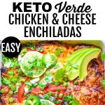 pin with two images of keto enchiladas and banner