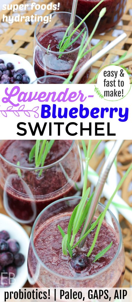 Lavender Blueberry Switchel {probiotics! Paleo, GAPS} #switchel #summerdrinks #summerbeverages #herbaldrinks #probiotics #hotweather #blueberrysmoothie #paleoblueberry