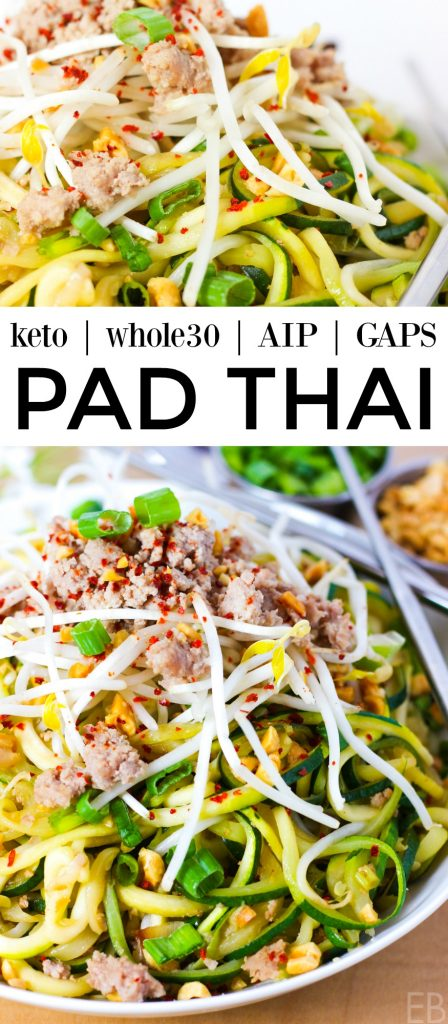 Keto Pad Thai is also Paleo, Whole30, GAPS and AIP! It's the freshest tasting Pad Thai ever, with authentic ingredients and flavors. However you eat, this is the Pad Thai for you! #keto #ketopadthai #whole30 #whole30padthai #whole30zoodles #paleozoodles #paleopadthai #aipzoodles #gapsdiet #bestpadthai