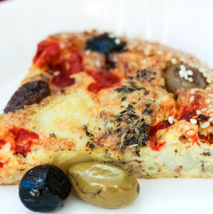 Whole30 Mediterranean Crustless Quiche with Brined Olives, Roasted Peppers, Potatoes and Za'atar {dairy-free | Paleo | GAPS}