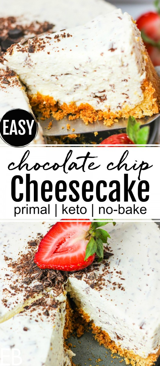 serving a slice of keto chocolate chip cheesecake