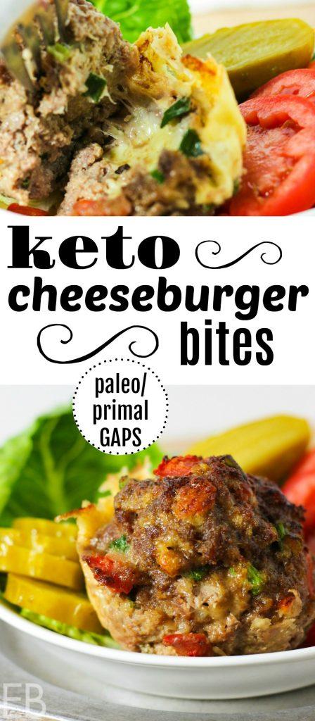 KETO Cheeseburger Bites (Primal & GAPS) ~ Great for breakfast, lunch, snacks, appetizers, or for dinner! #keto #ketoburger #ketosnack #ketodinner #ketobreakfast #ketolunch #meatmuffins #ketoappetizer #cheeseburger